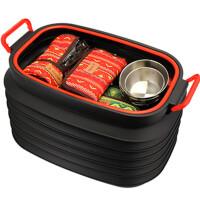 户外37L伸缩桶带盖折叠桶多功能汽车水桶野营杂物箱钓鱼桶收纳桶
