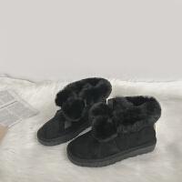 冬季新款雪地靴防水防滑毛球短筒女靴厚底加绒棉鞋
