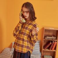 【1件5折价:74.5,26日0点可叠券】美特斯邦威格子衬衫女秋季时尚简约半开领套头长袖衬衫女