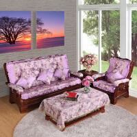 木沙发坐垫带靠背实木家具木头中式海绵厚连体冬季红木沙发垫b