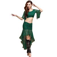 肚皮舞服装 新款修身舒适蕾丝表演练功服女士宽松性感演出舞蹈肚皮舞上衣裙子两件套 橄榄绿 S