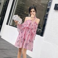 2018夏季新款荷叶边露肩雪纺吊带连衣裙碎花沙滩裙海边度假裙女潮 粉红色