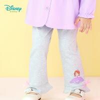 迪士尼Disney 宝宝裤子秋季新品索菲亚公主女童荷叶边休闲打底裤