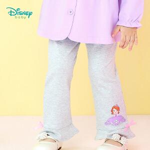 【3件4折】迪士尼Disney 宝宝裤子秋季新品索菲亚公主女童荷叶边休闲打底裤183K800