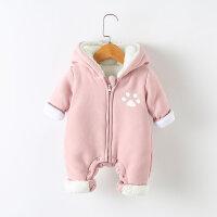 婴儿连体衣秋冬带帽女保暖爬服加绒男宝宝哈衣外出服新生幼儿衣服