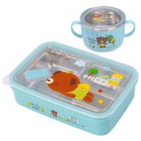 学生饭盒304不锈钢大容量分格便当餐盘儿童带盖汤碗套装