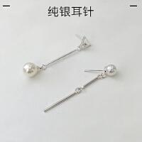 欧丁s925纯银针长款耳钉女韩国简约珍珠不对称耳饰品H