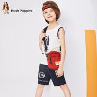 【4折价:145.2元】暇步士童装夏季新款男童套装时尚清凉无袖背心五分裤套装儿童套装