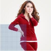 新款时尚天鹅绒运动套装女 韩版时尚金丝绒休闲套装