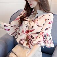 雪纺花衬衫短袖女装夏季上衣2018新款韩版百搭超仙气质显瘦甜美 花色