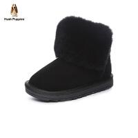 暇步士Hush Puppies童鞋新款儿童皮靴牛皮加绒雪地靴防滑保暖休闲靴 (6-10岁可选) DP9222