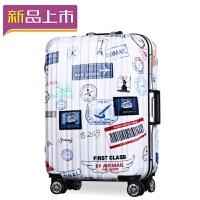 2018印花涂鸦铝框拉杆箱20寸24寸万向轮行李箱男女学生个性图案旅行箱 白色 20寸