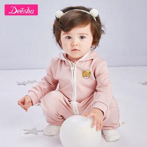 笛莎女童宝宝外套2019春季新款可爱爬服小女孩连体衣连帽外套