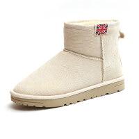 2018冬季新款英伦风雪地靴女短筒靴子女学生韩版百搭加绒加厚棉鞋