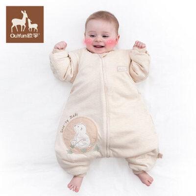 欧孕婴儿睡袋春秋新生儿防踢被儿童宝宝睡袋彩棉花分腿天然彩棉 分腿睡袋 空调防踢被 透气