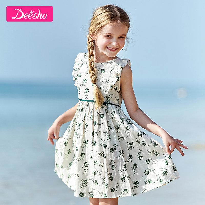 【2折价:72】笛莎童装女童连衣裙夏季新款儿童中大童棉布碎花无袖公主裙子 3件2折