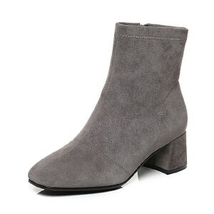 Tata/他她2017冬羊皮绒面方头靴粗跟女短靴17210DD7
