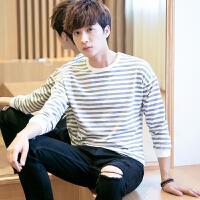 男士长袖T恤秋季青少年学生薄款上衣服潮流黑白色条纹打底衫韩版