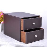 家居生活用品皮质桌面杂物整理收纳盒 多层抽屉办公文件收纳储物柜木质化妆盒