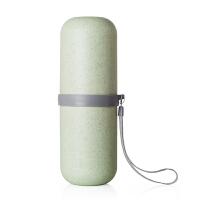 旅行洗漱杯牙刷牙膏毛巾便携套装旅游出差户外用品收纳盒漱口杯包 浅绿色 圆形
