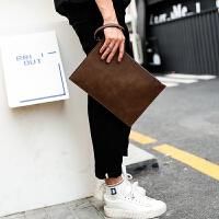 复古疯马韩版男士手包IPAD男包手拿包商务手抓皮包男信封包文件包 咖啡色