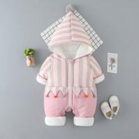 婴儿冬装衣服可爱萌男女宝宝外出新生儿爬抱服公主棉衣3个月潮