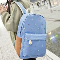 双肩包日韩初中学生书包学院风高中生旅行背包印花女包 天蓝色
