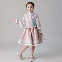女童加厚钢琴演出服儿童礼服公主裙蓬蓬纱花童小主持人晚礼服长袖 粉红色