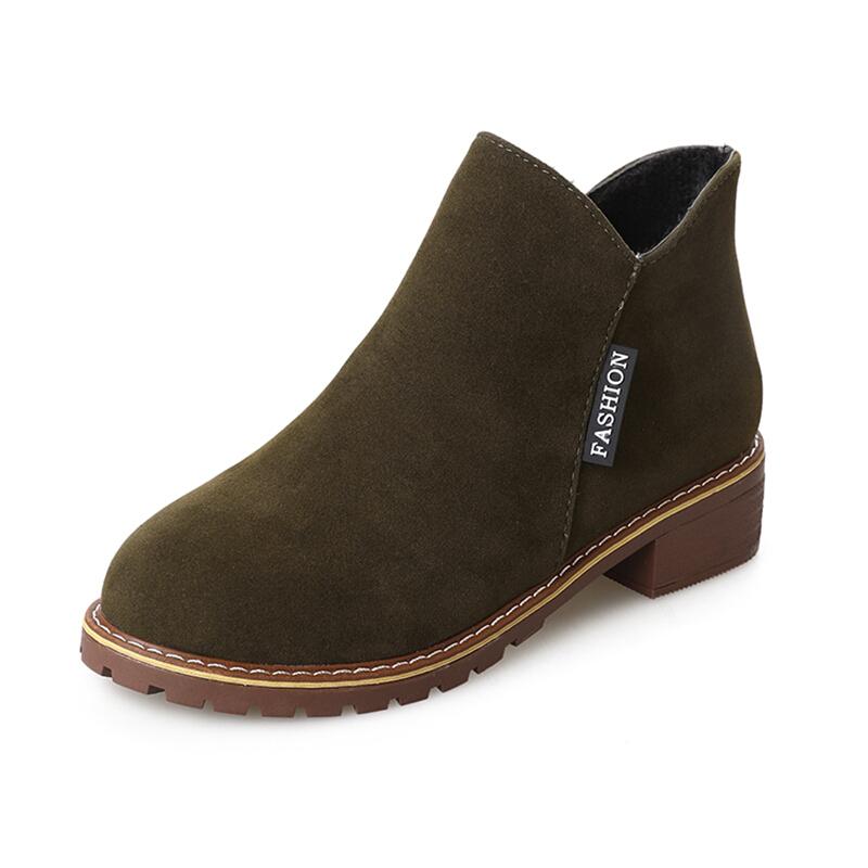 女鞋chic马丁靴子中跟粗跟短靴冬秋冬季潮磨砂英伦侧拉链短筒单靴
