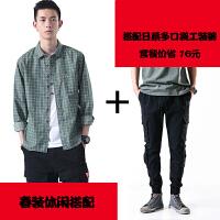 春季新款长袖衬衫男日系复古休闲寸衫青年学生外穿格子衬衣潮流