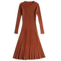 针织连衣裙春秋装2018新款修身显瘦韩版内搭打底毛衣裙中长款过膝
