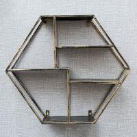胶指甲油美甲架子铁艺化妆品壁挂展示架置物架摆放货架收纳架 指甲油架=六角形 古铜色