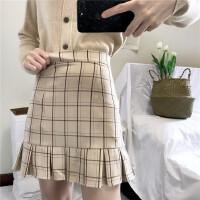 春季2018新款韩版复古格子高腰半身裙女修身显瘦包臀裙百褶裙