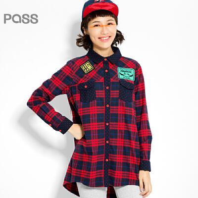 【不退不换】PASS原创潮牌冬装 英伦风格子加厚中长款保暖长袖潮流街头衬衫女6540212027