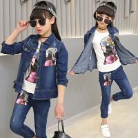 韩版女童春秋套装2018新款韩版儿童牛仔套装两件套春秋女孩衣服潮 美人头牛仔两件套