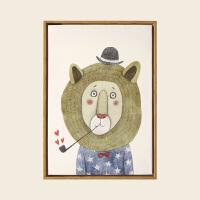 幼儿园儿童装饰画简约现代小清新卧室壁画餐厅挂画北欧卡通动物 60*80 木纹色画框 单幅价格,多幅加购物车拍下