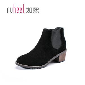 如熙2017秋冬新款时尚方跟女靴 棉布里长毛绒女靴