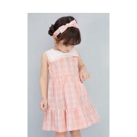 【3件1.5折价:48】笛莎童装女童连衣裙2021夏季新款宝宝儿童甜美洋气时尚格纹公主裙