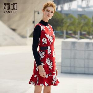 颜域品牌女装2017新款冬季无袖连衣裙女红色印花修身气质背心裙女