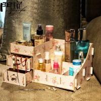 门扉 化妆品收纳盒整理盒 创意桌面木质抽屉式大号收纳盒首饰盒置物储物盒