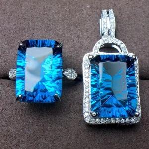 精品伦敦蓝托帕石套装,颜色超深的伦敦蓝