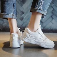 小白鞋女老爹鞋2019新款韩版百搭学生平底智熏鞋春季运动鞋女鞋子 白色 小白鞋