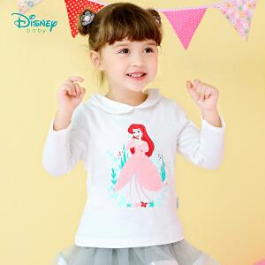 迪士尼Disney童装娃娃领女童长袖t恤2018秋装新款宝宝后开扣纯棉休闲上衣183S1025