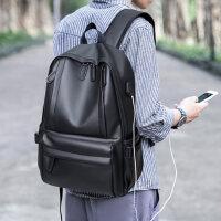 时尚潮流双肩包男韩版高中大学生校园书包休闲旅行男士电脑背包皮
