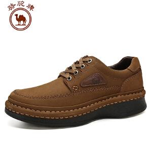 骆驼牌日常休闲磨砂皮男鞋厚底增高鞋新品真皮系带摇摇鞋手工缝线