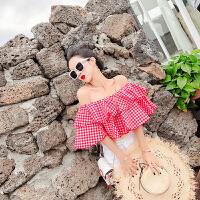 2018夏季新款时尚百搭韩版气质修身显瘦格子露肩一字领荷叶边上衣 均码