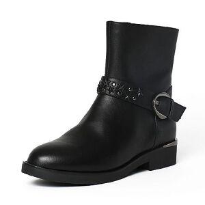 Tata/他她冬黑色牛皮铆钉皮带扣通勤方跟女中靴2YW67DZ6