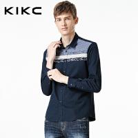 kikc男装纯棉长袖衬衫秋季新款薄款休闲青年韩版全棉衬衣潮流