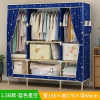 简易布衣柜简约现代实木组装经济型实用衣柜单人牛津布艺衣橱 2门 组装
