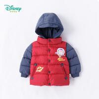 迪士尼Disney童装 男童外套秋冬保暖夹棉带帽上衣宝宝卡通巴斯光年风衣184S994